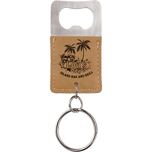 Leatherette Bottle Opener Keychain - Customizable
