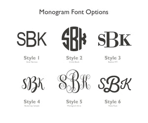 monogram style options for Bamboo square coasters
