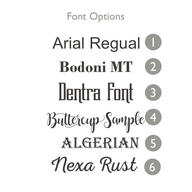 font options for Square Bamboo coasters