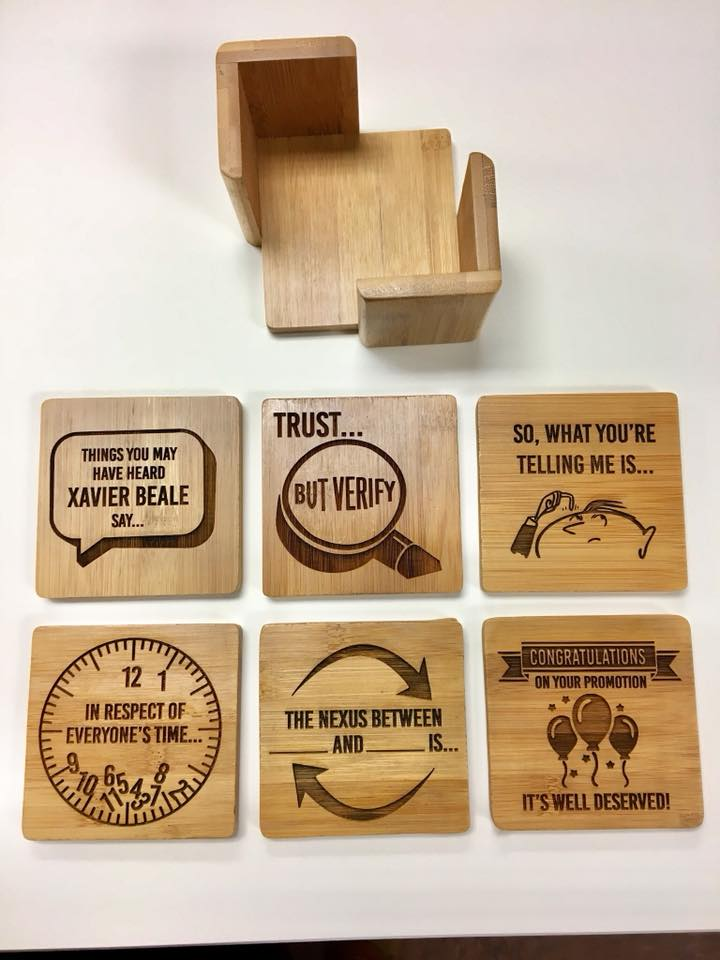 Load image into Gallery viewer, Engraved Bamboo square coaster set