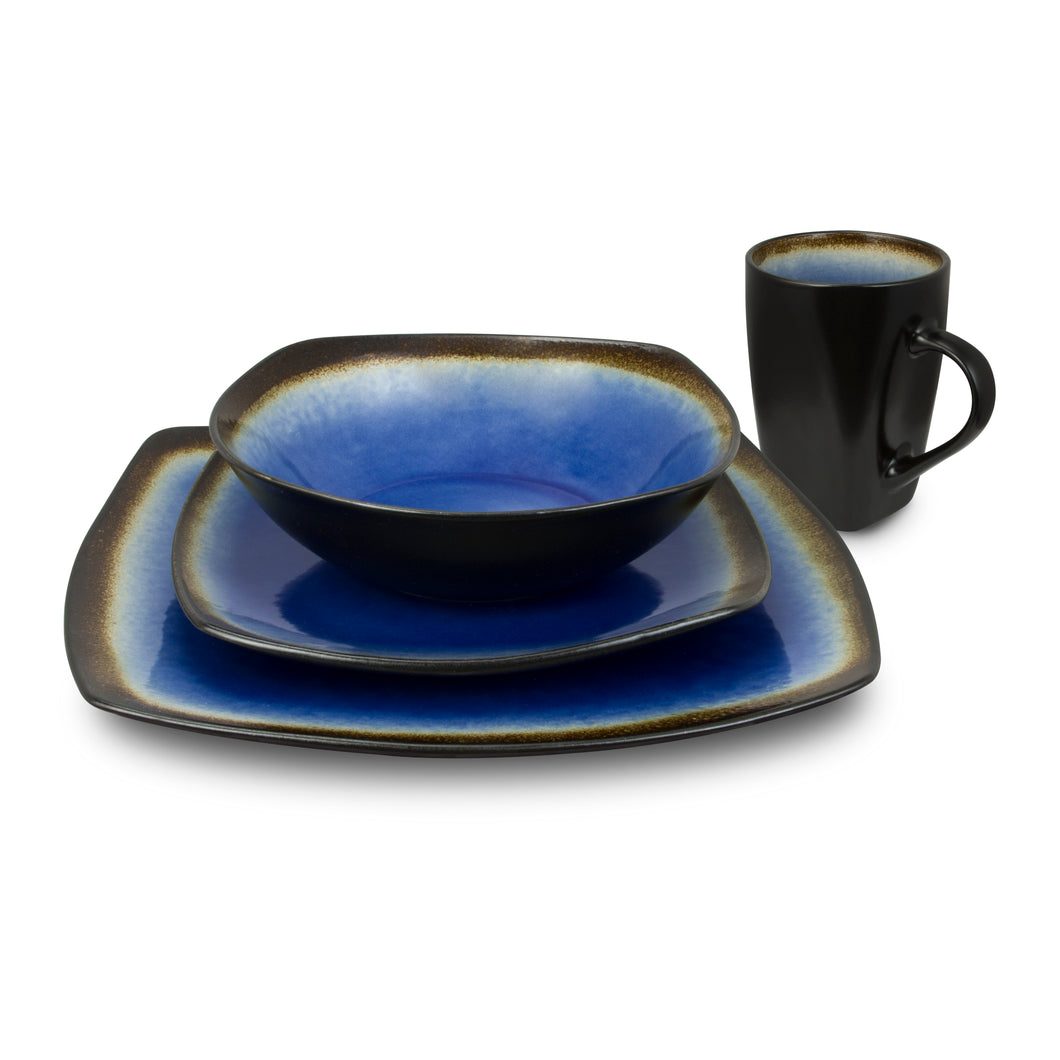 Designer Curved 16-Piece Brown and Blue Dinnerware Set