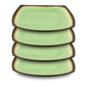 Designer Curved 16-Piece Brown and Lime Dinnerware Set