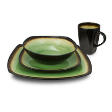 Load image into Gallery viewer, Designer Curved 16-Piece Brown and Lime Dinnerware Set