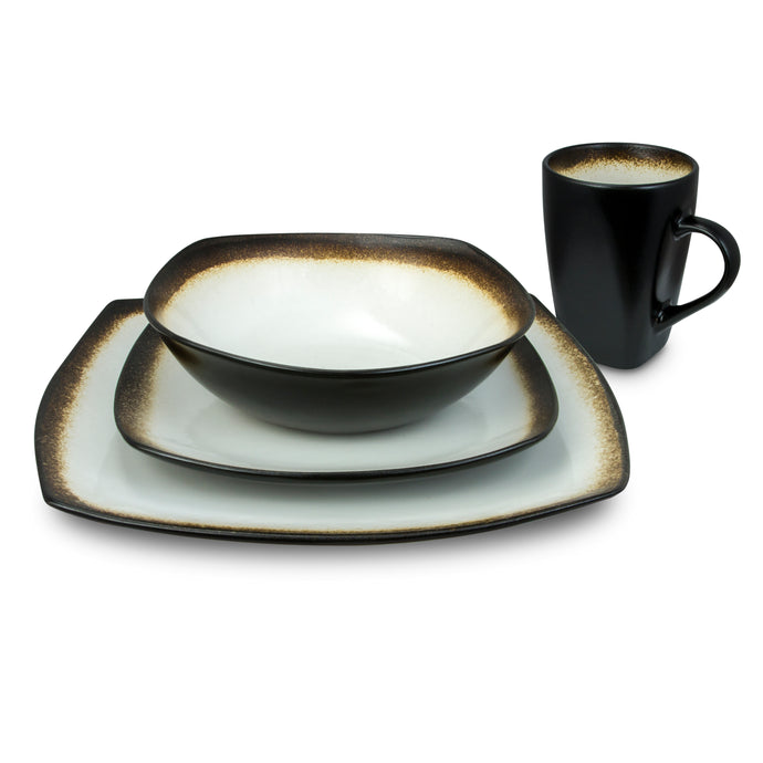 Designer Curved 16-Piece Brown and White Dinnerware Set