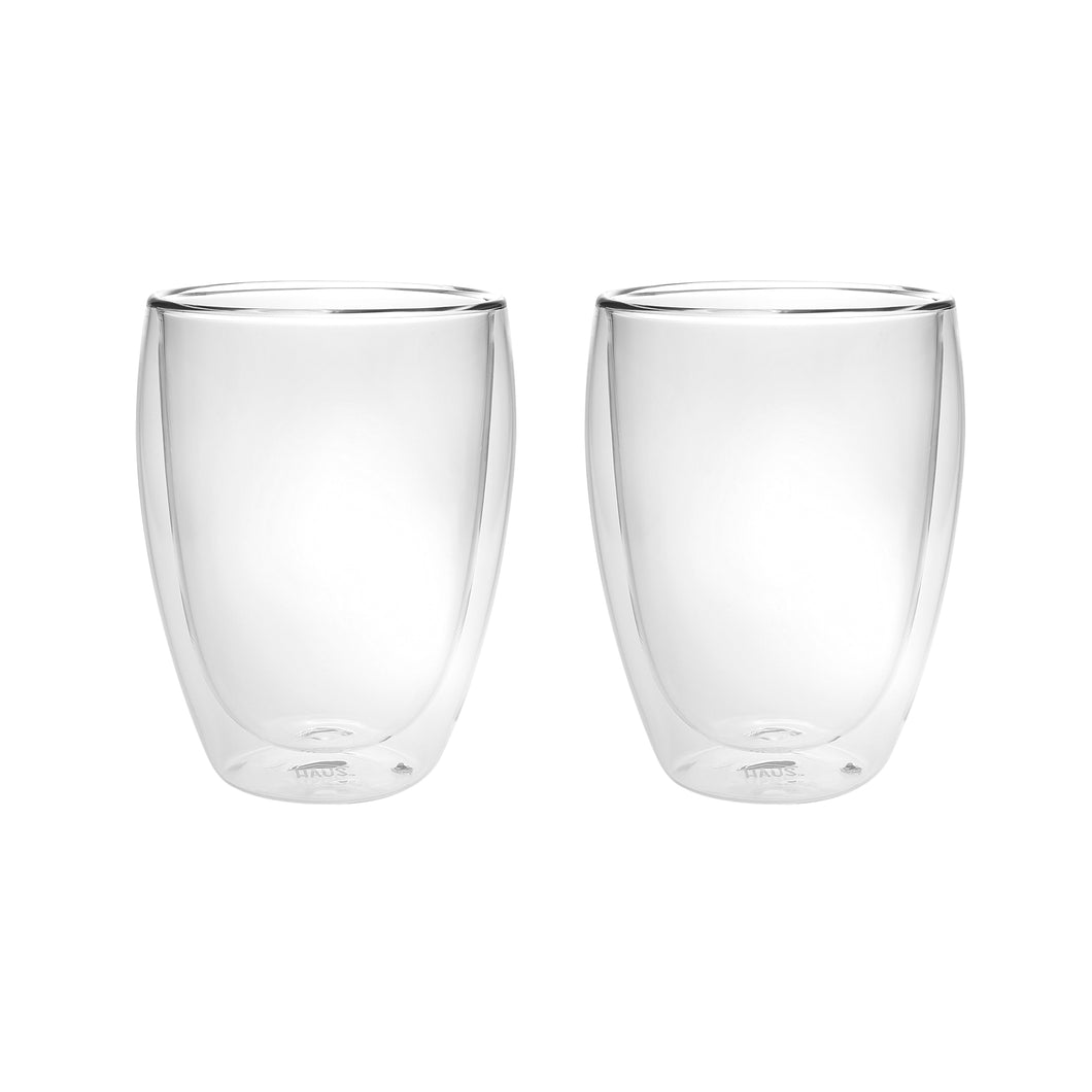 Set of 2 Double Wall Glass Tumblers 12 Oz