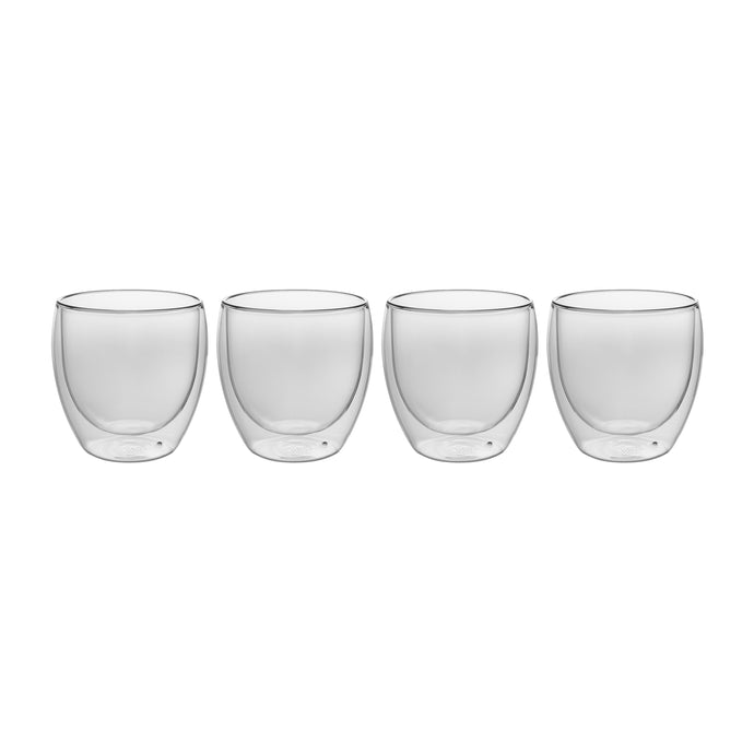 Set of 4 Double Wall Glass Espresso or Shot Glasses 2.5 Oz