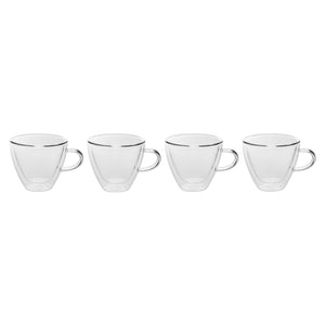 Set of 4 Double Wall Glass Coffee/Tea Mugs 4 Oz