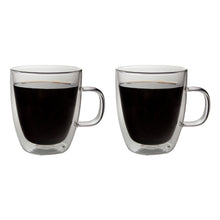 Load image into Gallery viewer, Set of 2 Double Wall Glass Coffee Mugs 13 Oz
