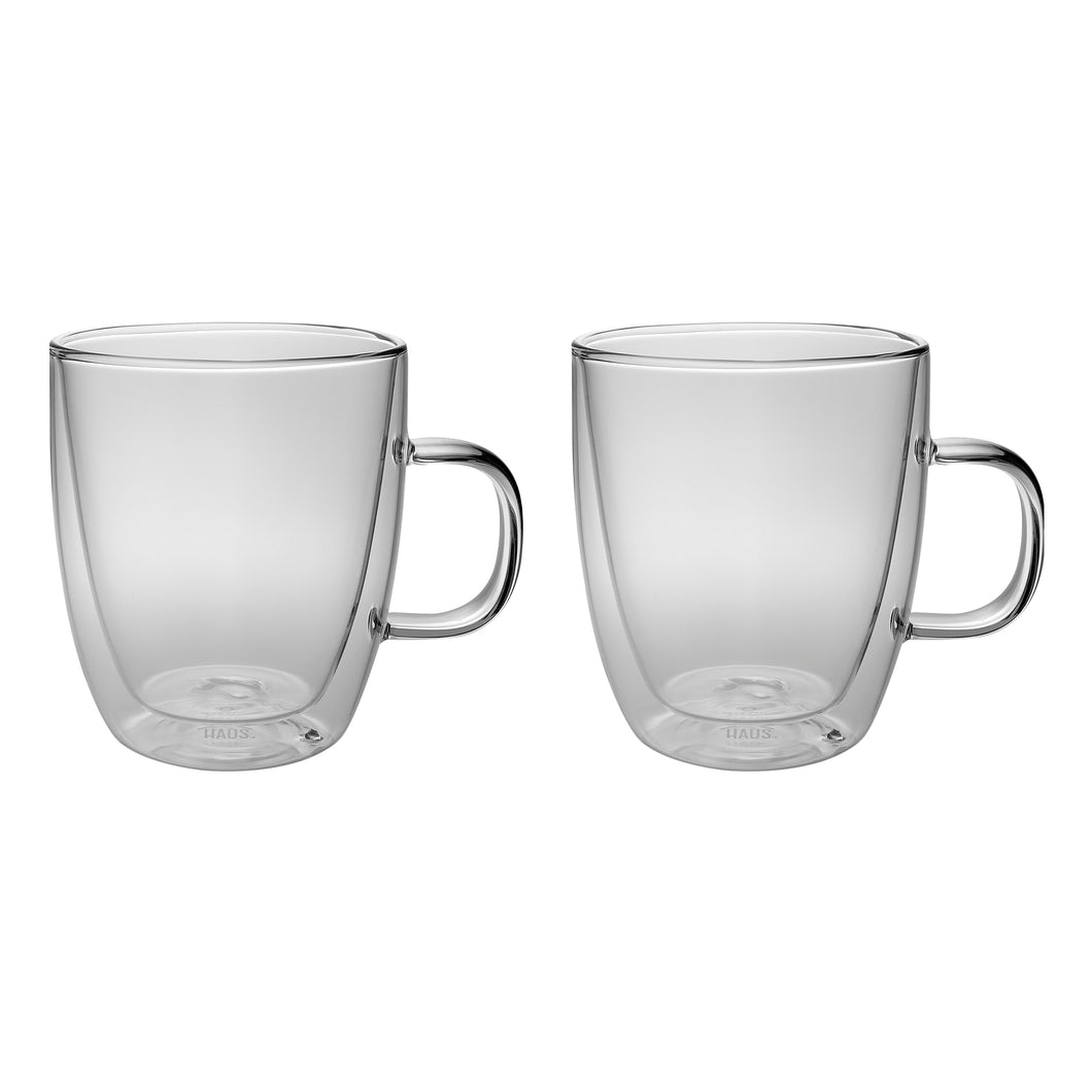 Set of 2 Double Wall Glass Coffee Mugs 13 Oz