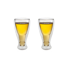 "Load image into Gallery viewer, Set of 2 Double Wall ""Freeze Cup"" Beer Glasses 13 Oz"