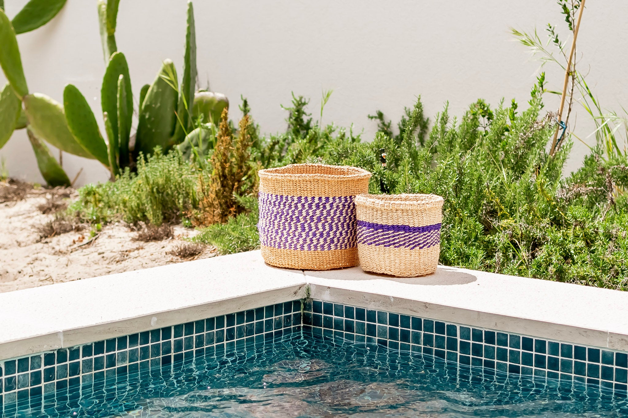 UNIQUE Collection: Small Purple & natural handmade basket - Rima Shop