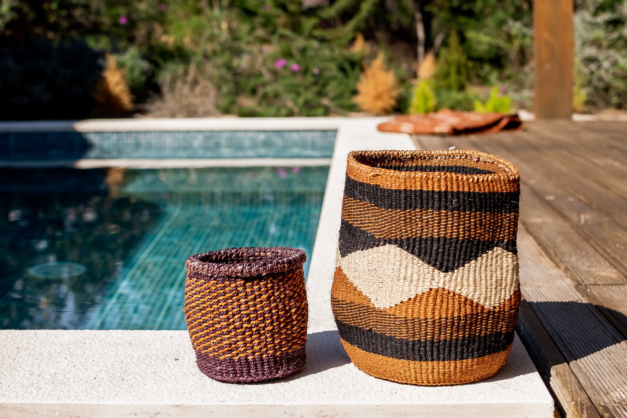Rima Shop - Geometric Natural&Black handmade Basket set