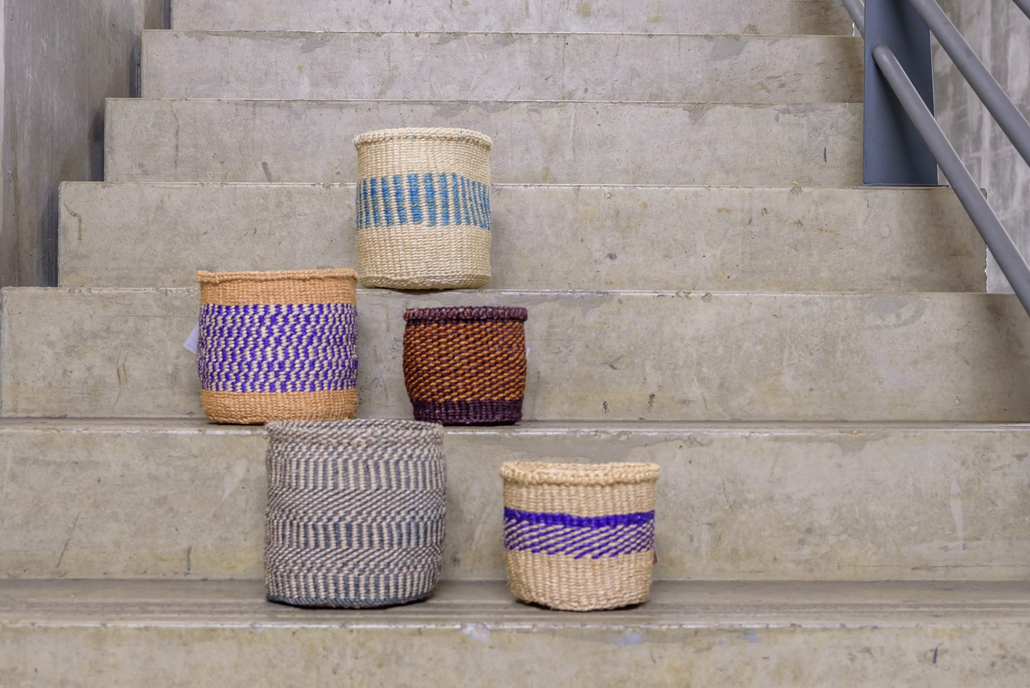 Unique collection blue and natural Handmade Basket - Rima Shop