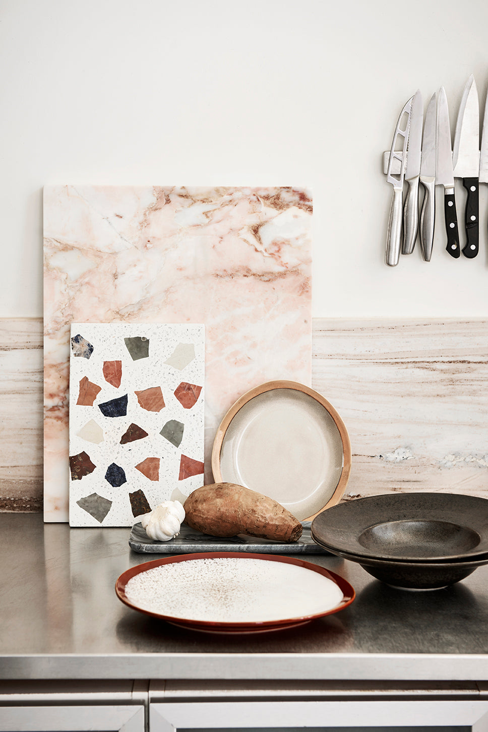 Pink Polished Marble Cutting Board