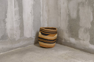 Rima Shop - Geometric Natural&Black handmade Basket - Stripes and checks