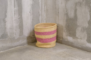 handmade basket with pink stripes - Rima Shop