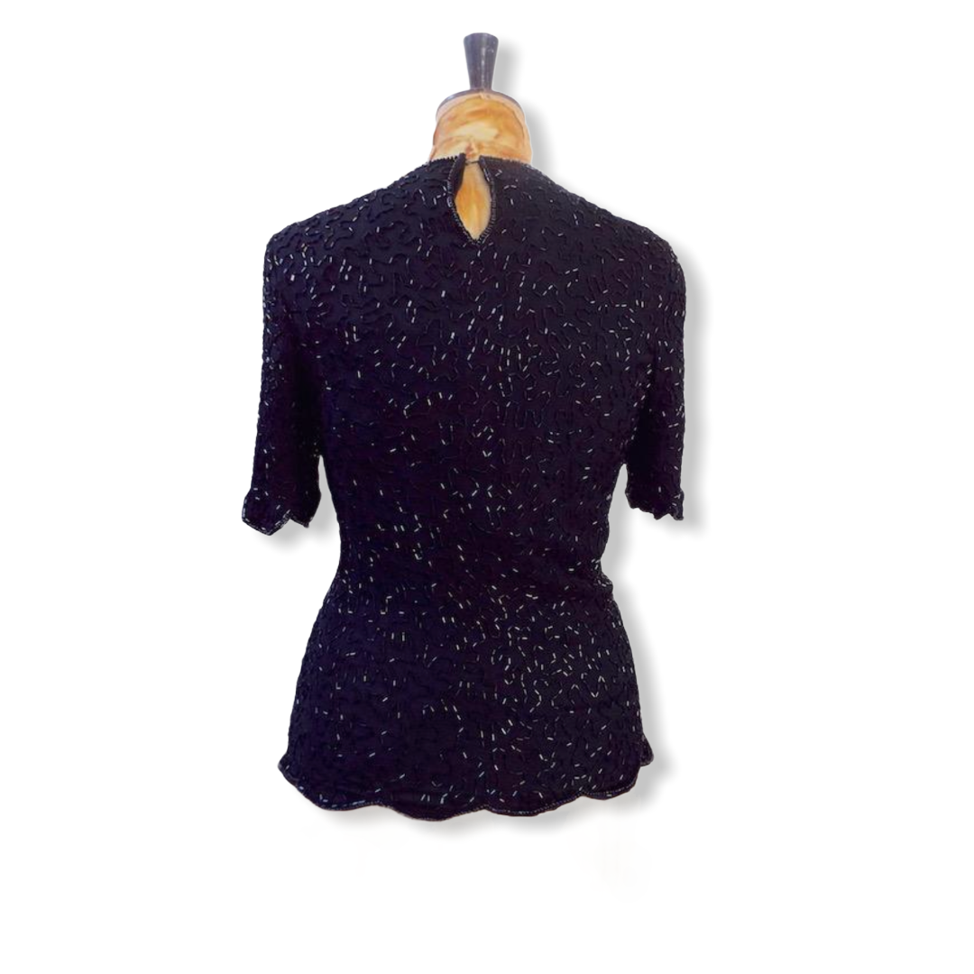 80s Vintage Sequin Top Size UK 10-12