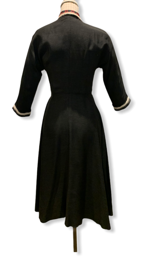 50s Pleated Dress with Diamanté Buttons Size UK 8