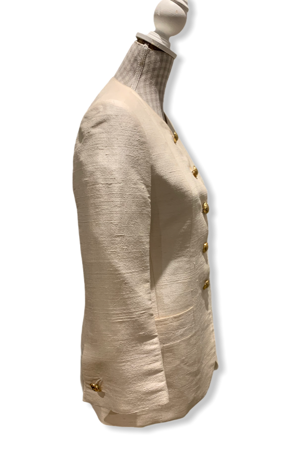 Vintage 80s Cream Silk Jacket Size UK 8- 10
