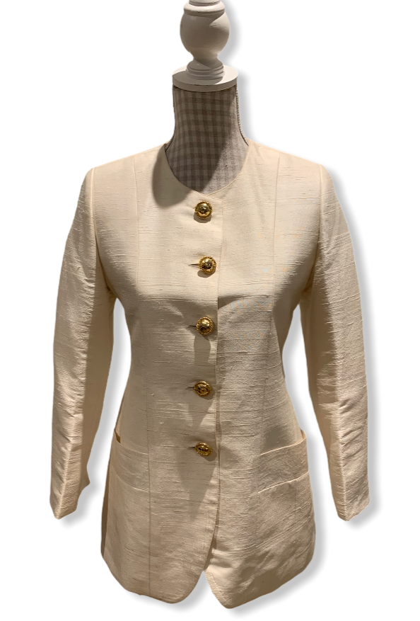 Vintage 80s Cream Silk Jacket Size UK 8-