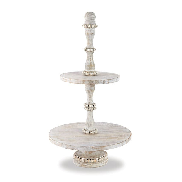 Bluffton Beaded Wood Tiered Server - Shop House Market