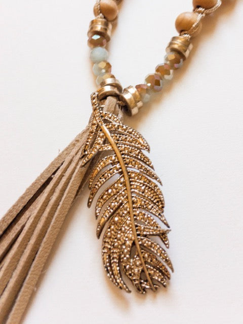 Suede Tassel, Wooden Beads and Metal Feather - Shop House Market