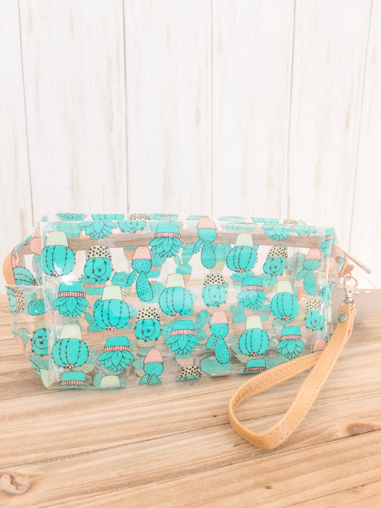 Cactus Printed Clear Wristlet / Cosmetic Bag - Shop House Market