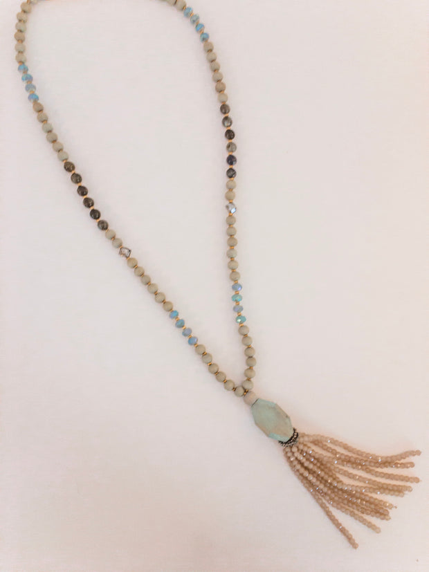 Beads and Glass Tassel Necklace - Shop House Market
