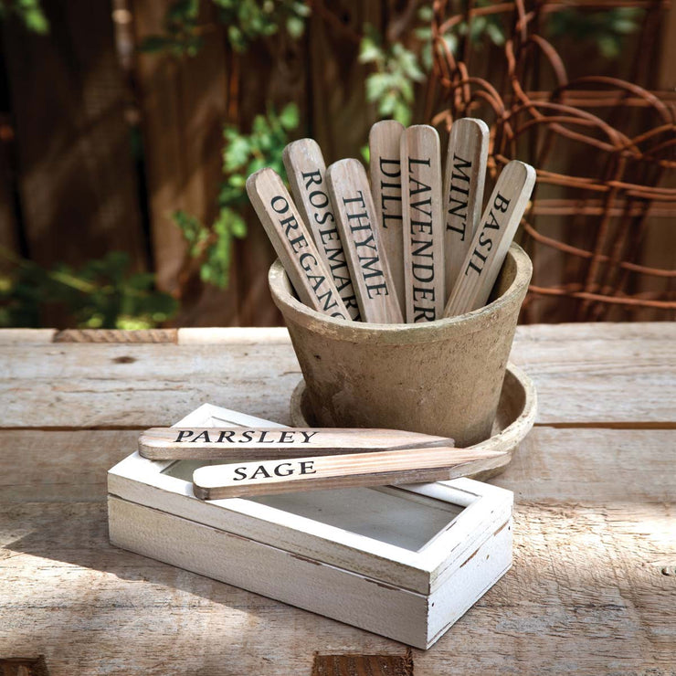 Wooden Herb Plant Stakes in Wooden Box - Shop House Market