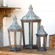 Farmhouse Wood and Galvanized Metal Lanterns - Shop House Market