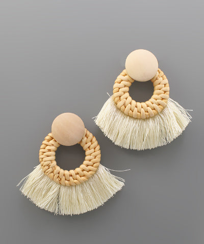 Rattan Circle Fan Earrings - Shop House Market