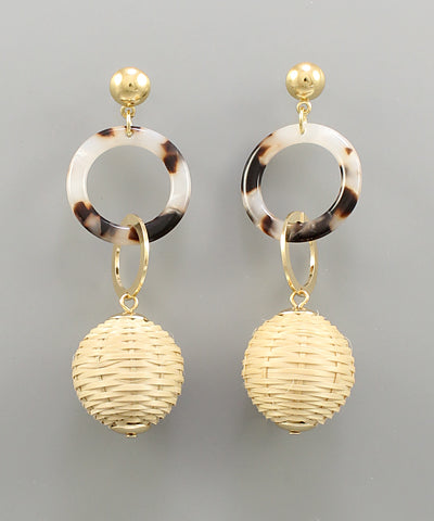Rattan Ball & Circle Earrings - Shop House Market