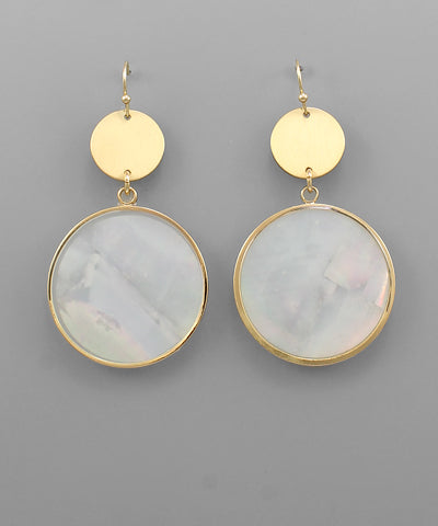 Shell & Metal Disc Earrings - Shop House Market
