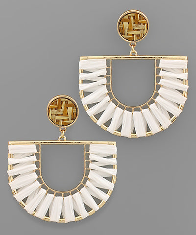 Raffia Wrapped Arch Earrings - Shop House Market