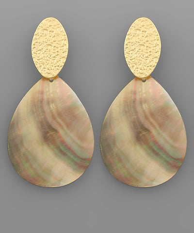 Oval Metal & Shell Earrings - Shop House Market