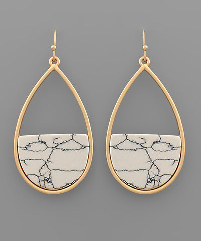 Half Stone Teardrop Howlite Earrings
