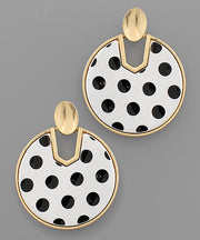 Dot Disc Earrings Black Polka Dots - Shop House Market