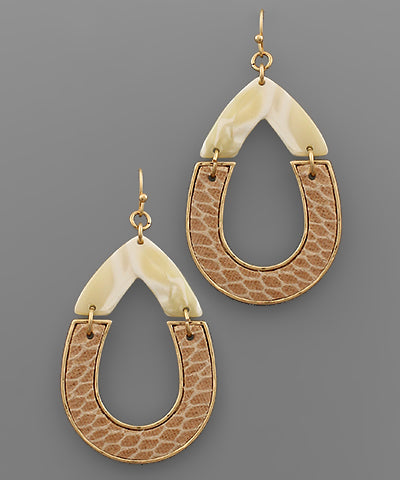 Acrylic & Leather Teardrop Earrings - Shop House Market