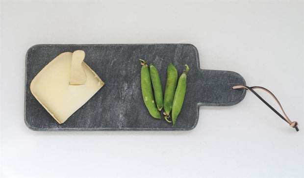 Modern Marble Cutting Board w/ Handle & Leather Tie - Shop House Market