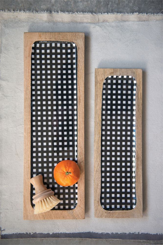 Enameled Mango Wood Tray, Black Gingham - Shop House Market