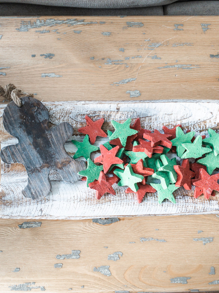 HANDMADE O'Holy Night Red and Green Clay Christmas Stars - Shop House Market