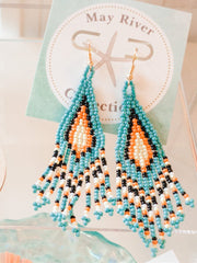 Bead Traingle Tassel Earrings - Shop House Market
