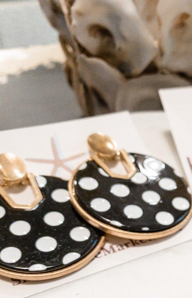 Dot Disc Earrings white Polka Dots - Shop House Market