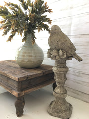 Country French Bird Perched on Pedestal - Shop House Market