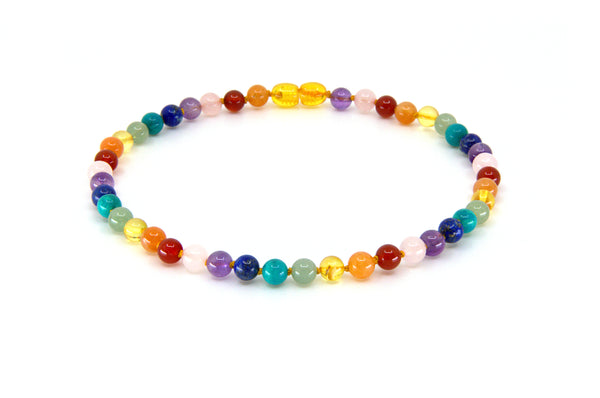 Rainbow gemstone Chakra teething necklace