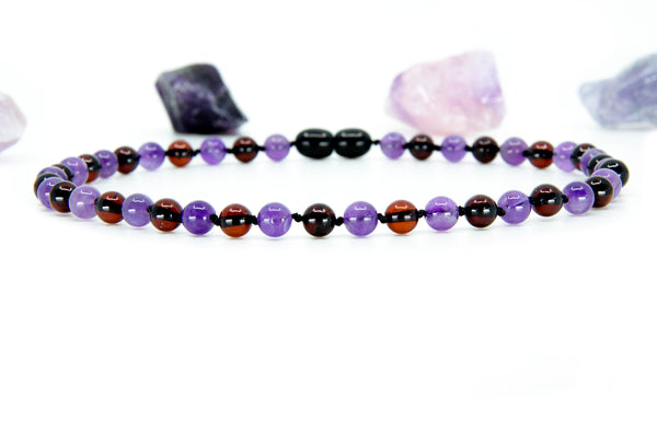Baltic amber teething necklace with Amethyst and Cherry round amber