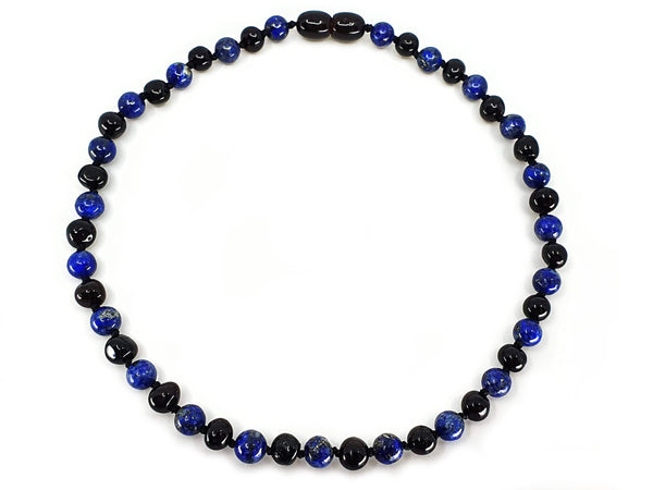 Cherry amber and Lapis Lazuli necklace