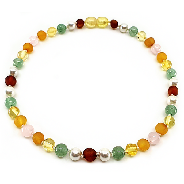 Cognac and Honey unpolished amber with Pearl, Green Aventurine, Lemon amber and Rose Quartz
