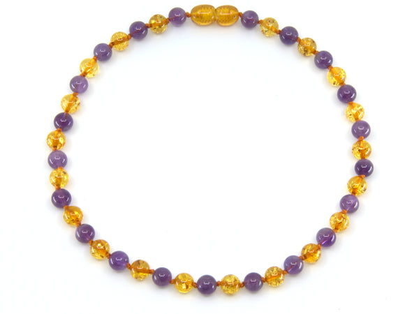 Baltic amber teething necklace with Honey round amber & Amethyst