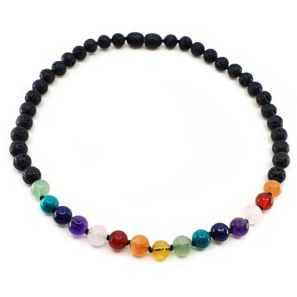 Lava rock necklace with Rainbow gemstones in the front